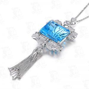 52.8ct Natural Blue Aquamarine in 18K Gold Pendant