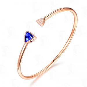 1.55ct Natural Blue Tanzanite in 18K Gold Bracelet
