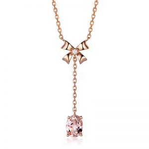 1.25ct Natural Peach Morganite in 18K Gold Pendant