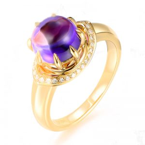 2.3ct Natural Purple Amethyst in 18K Gold Ring