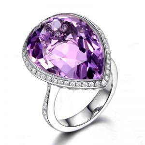 15.17ct Natural Purple Amethyst in 18K Gold Ring
