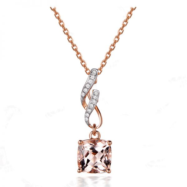 1.85ct Natural Peach Morganite in 18K Gold Pendant