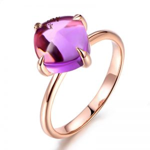 3.15ct Natural Purple Amethyst in 18K Gold Ring