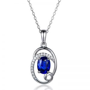 1.2ct Natural Blue Sapphire in 18K Gold Pendant