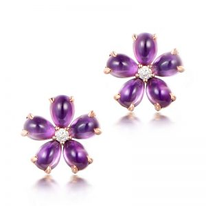 4.15ct Natural Purple Amethyst in 18K Gold Earring