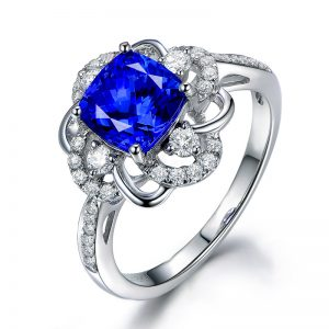 2.5ct Natural Blue Tanzanite in 18K Gold Ring