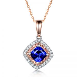 1.2ct Natural Blue Tanzanite in 18K Gold Pendant