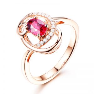 0.73ct Natural Red Ruby in 18K Gold Ring