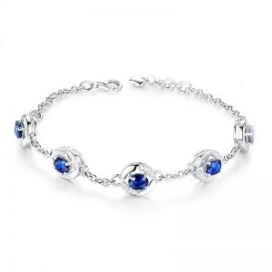 2.26ct Natural Blue Sapphire in 18K Gold Bracelet