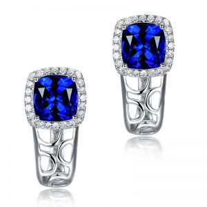 2.15ct Natural Blue Tanzanite in 18K Gold Earring