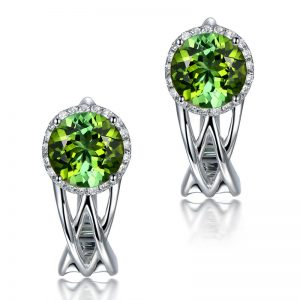 1.3ct Natural Green Tourmaline in 18K Gold Earring