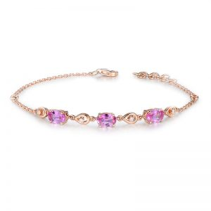 1.85ct Natural Pink Sapphire in 18K Gold Bracelet