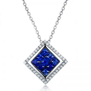 1.35ct Natural Blue Sapphire in 18K Gold Pendant