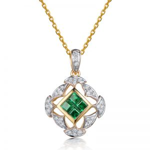 0.45ct Natural Green Emerald in 18K Gold Pendant