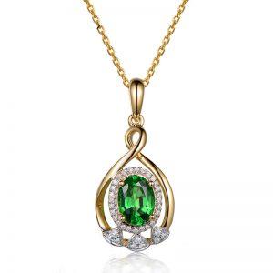 1.2ct Natural Green Tsavorite in 18K Gold Pendant