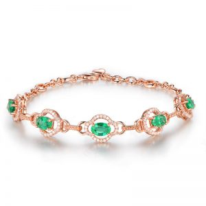 ct Natural Green Emerald in 18K Gold Bracelet