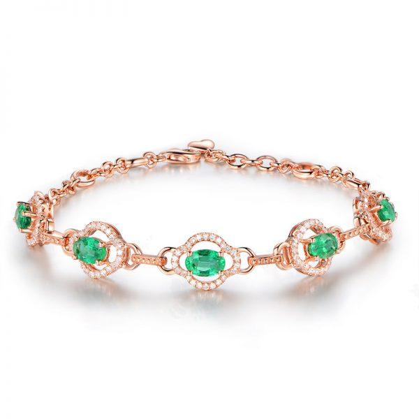 ct Natural Green Emerald in 18K Gold Bracelet