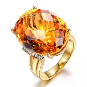 28.5ct Natural Yellow Citrine in 18K Gold Ring