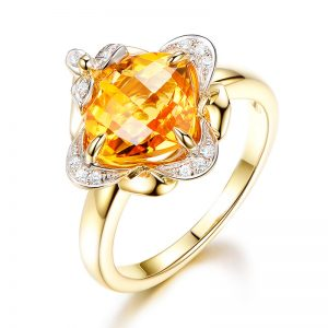 2.6ct Natural Yellow Citrine in 18K Gold Ring
