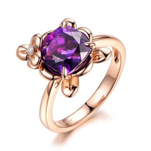2.65ct Natural Purple Amethyst in 18K Gold Ring