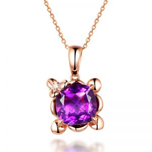 3.95ct Natural Purple Amethyst in 18K Gold Pendant