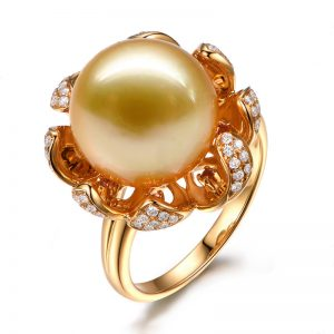 Natural Yellow Pearl in 18K Gold Ring