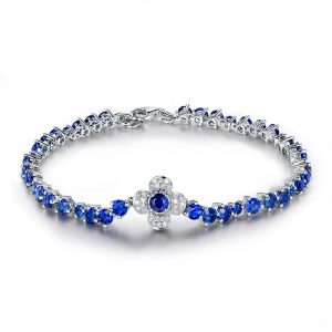 6.5ct Natural Blue Sapphire in 18K Gold Bracelet
