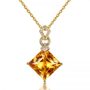 10.68ct Natural Yellow Citrine in 18K Gold Pendant
