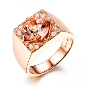 2.62ct Natural Peach Morganite in 18K Gold Ring