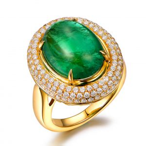 7.58ct Natural Green Emerald in 18K Gold Ring