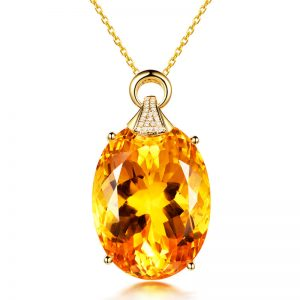55.58ct Natural Yellow Citrine in 18K Gold Pendant
