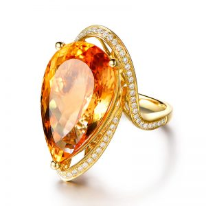 21.56ct Natural Yellow Citrine in 18K Gold Ring