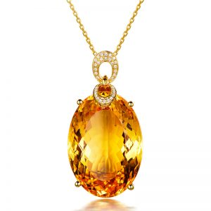 45.5ct Natural Yellow Citrine in 18K Gold Pendant