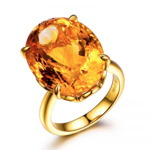 15.91ct Natural Yellow Citrine in 18K Gold Ring