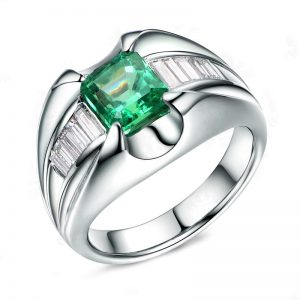 1.35ct Natural Green Emerald in 18K Gold Ring