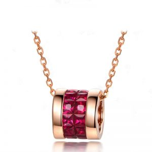 1.5ct Natural Red Ruby in 18K Gold Pendant