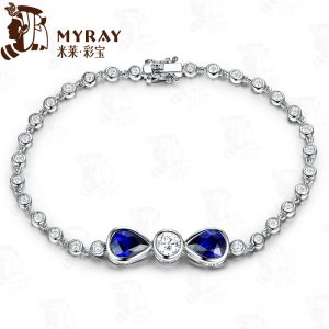 3.05ct Natural Blue Sapphire in 18K Gold Bracelet