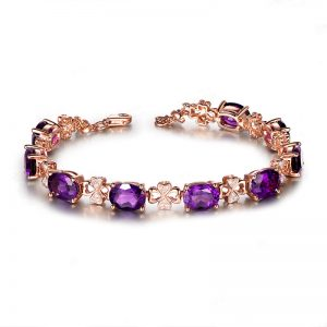 11.5ct Natural Purple Amethyst in 18K Gold Bracelet