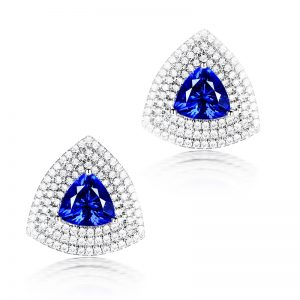3.15ct Natural Blue Tanzanite in 18K Gold Earring