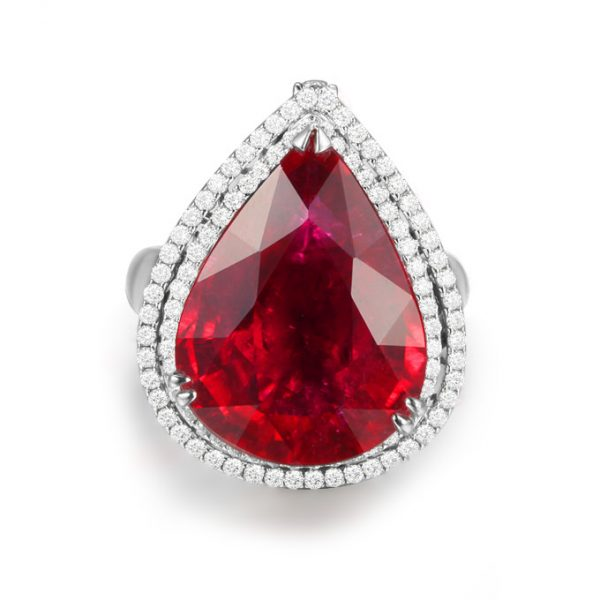 14.19ct Natural Red Tourmaline in 18K Gold Ring