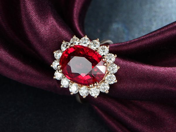 8.85ct Natural Red Tourmaline in 18K Gold Ring