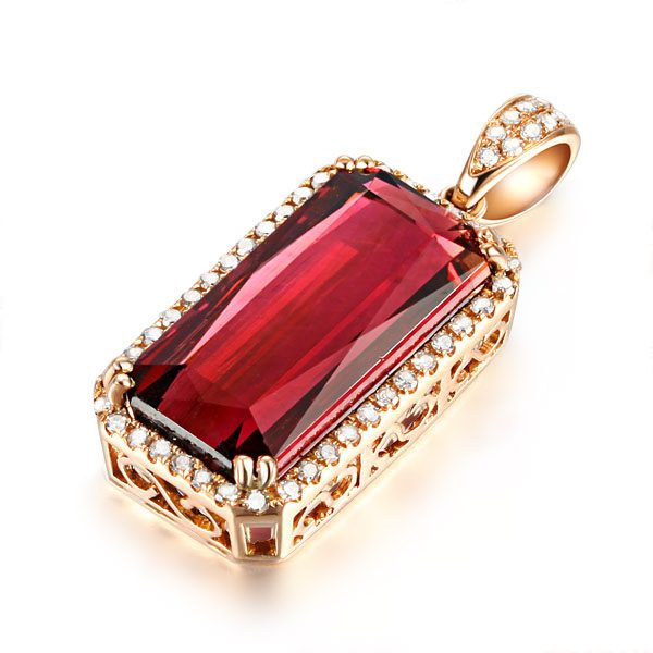 12.65ct Natural Red Tourmaline in 18K Gold Pendant