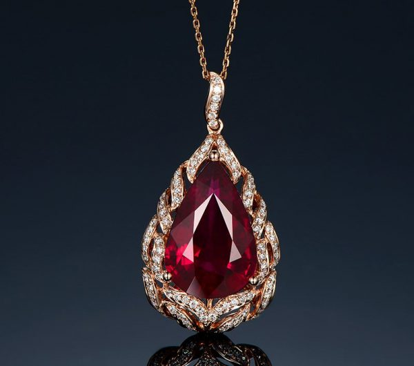 13ct Natural Red Tourmaline in 18K Gold Pendant