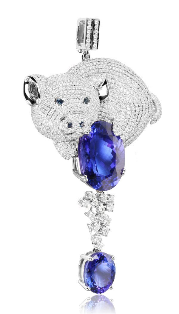 28.92ct Natural Blue Tanzanite in 18K Gold Pendant