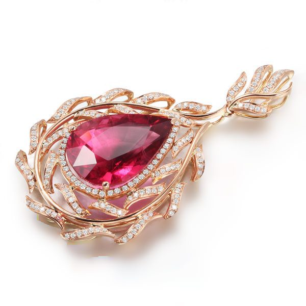 15.79ct Natural Red Tourmaline in 18K Gold Pendant