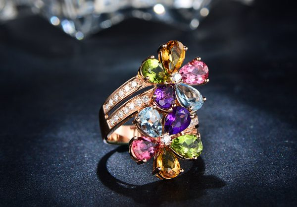 ct Natural Multi Colored Stones in 18K Gold Ring