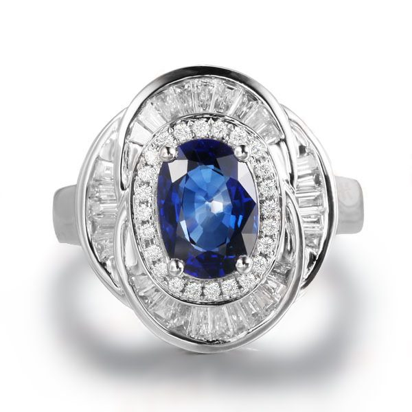 2.69ct Natural Blue Sapphire in 18K Gold Ring