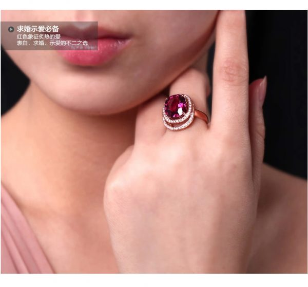 5ct Natural Red Tourmaline in 18K Gold Ring