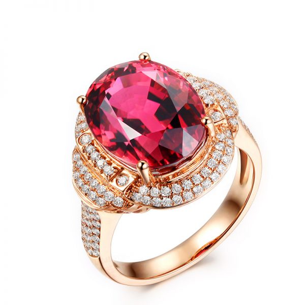13.88ct Natural Red Tourmaline in 18K Gold Ring