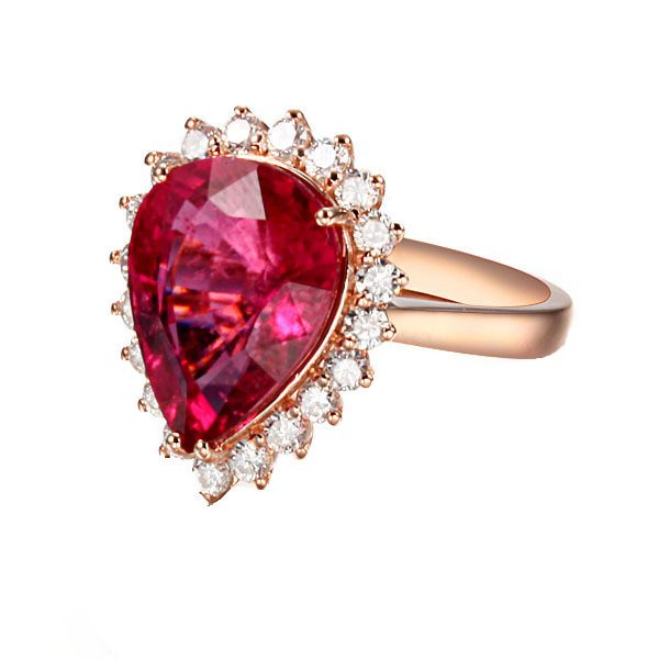 4.9ct Natural Red Tourmaline in 18K Gold Ring